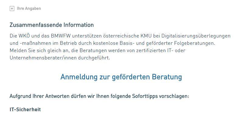 Online Status Check KMU DIGITAL Konstantin Heiller CDC CeCE OSC Ergebnis
